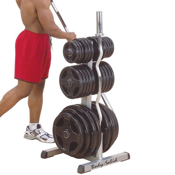 Body-Solid Olympic Plate Tree & Bar Holder (GOWT) | Body ...